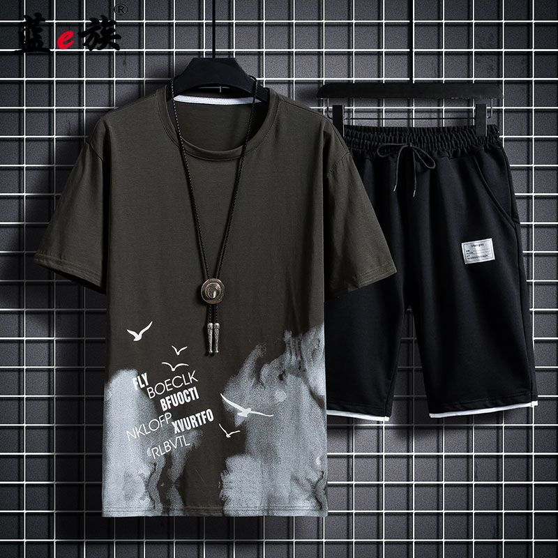 Short-sleeved T-shirt/suit shorts mens casual loose fashion Korean printing summer new style cool trend Oversized t-shirt male