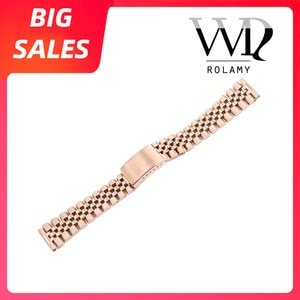Rolamy 20mm Rose Gold Replacement 316L Stainless Steel Wrist Watch Band Strap Bracelet For Omega IWC Tudor Seiko Breitling