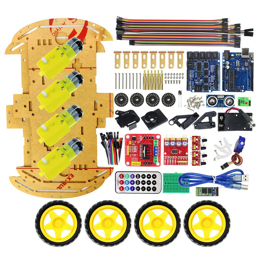 Multifunction Bluetooth Controlled Robot Smart Car Kits 4WD UNO R3 Starter For arduino Diy Kit For E