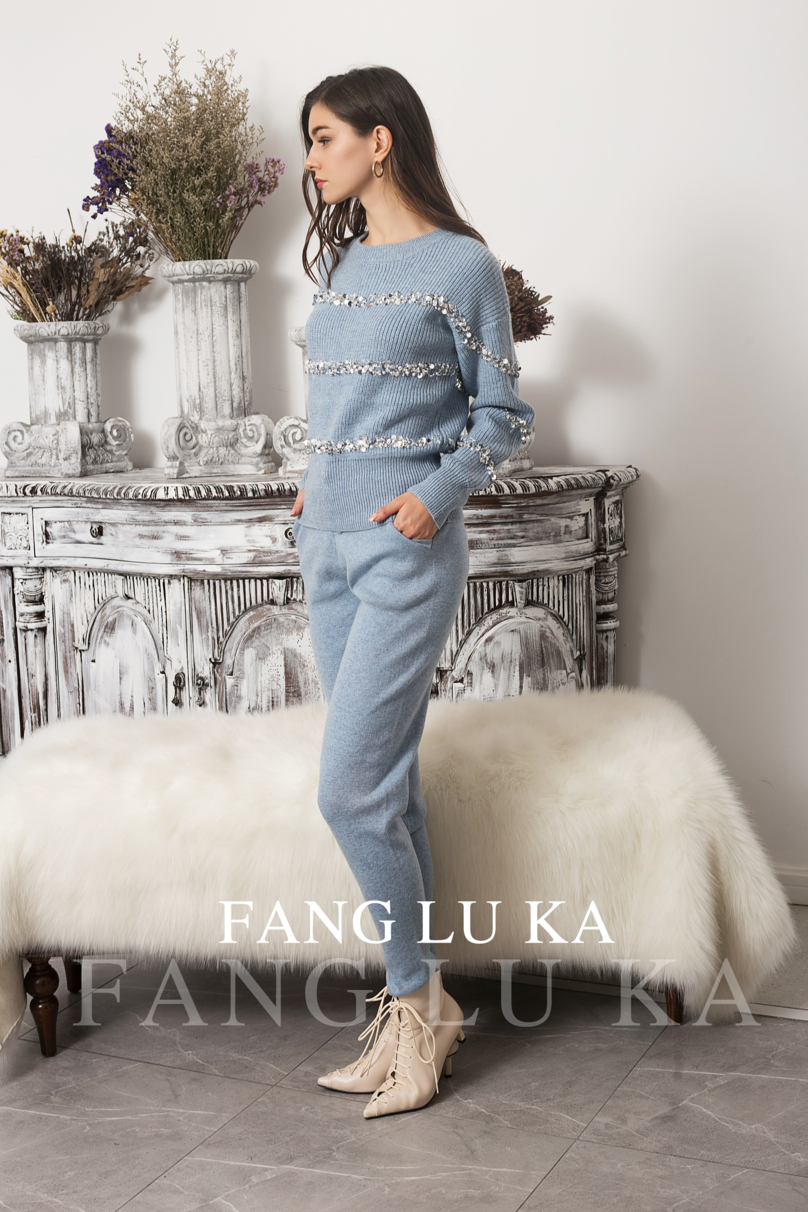 New Fashion Foreign Style Sequin Beaded Sweater Leggings Two Piece Set Cashmere Knitting Suit Women's enlarge