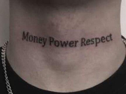 "Tatuaje temporal pegatina letra ""dinero poder respeto"" cuello Tatuaje falso tatuajes de transferencia a prueba de agua tatuaje arte para chica mujeres hombres"