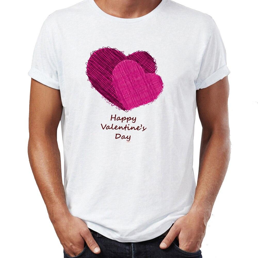 Футболки с графическими принтами для мужчин, футболка на День святого Валентина, хлопковые повседневные Забавные футболки Harajuku, топы с прин...