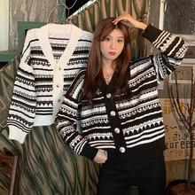 New sueter feminino Fall Winter Cardigans Full Sleeve Knitted Sweaters V Neck Basic Knitwear Rainbow