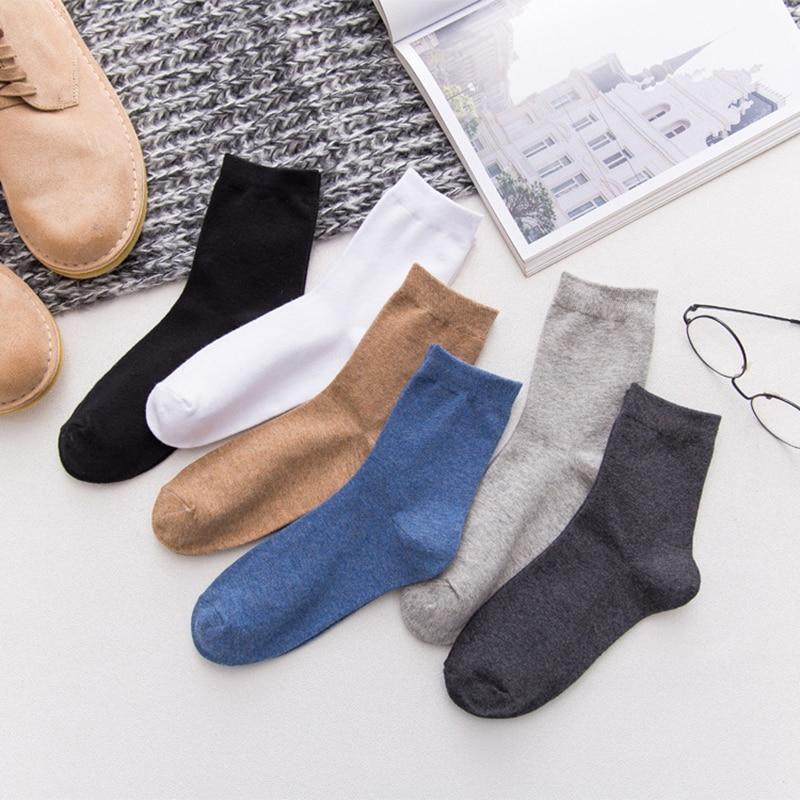 6 Paquete de pares de los hombres de alta calidad transpirable cómodo de algodón Casual blanco y negro de negocios calcetín masculino Meias medias para hombre sólido