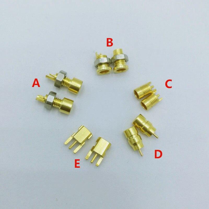 2 pcs תפור לפי מידה אוניברסלי פין שקע נקבה שקע mmcx טהור נחושת זהב מצופה מובנה hreaded אגוז מחזיק