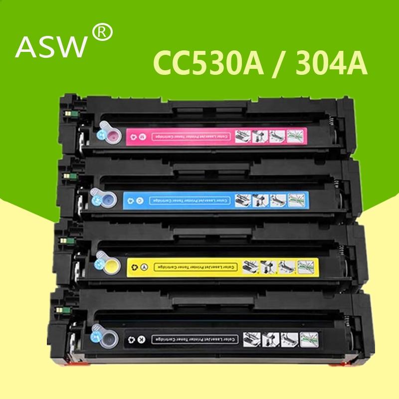 ASW 304A مسحوق حبر متوافق خرطوشة CC530A CC531A CC532A CC533A ل طابعة ليزر ألوان إتش بي CM2320nf CP2025 CM2320fxi CM2320n CM2320nf