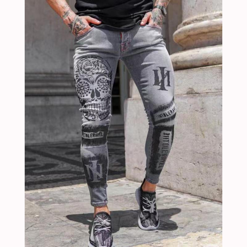 Мужские узкие джинсы с принтом, хипстерские эластичные джинсы, узкие серые джинсы с принтом
