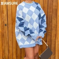 iamsure preppy style argyle plaid oversized sweater casual autumn winter long sleeve o neck knitted pullovers women 2021 fashion
