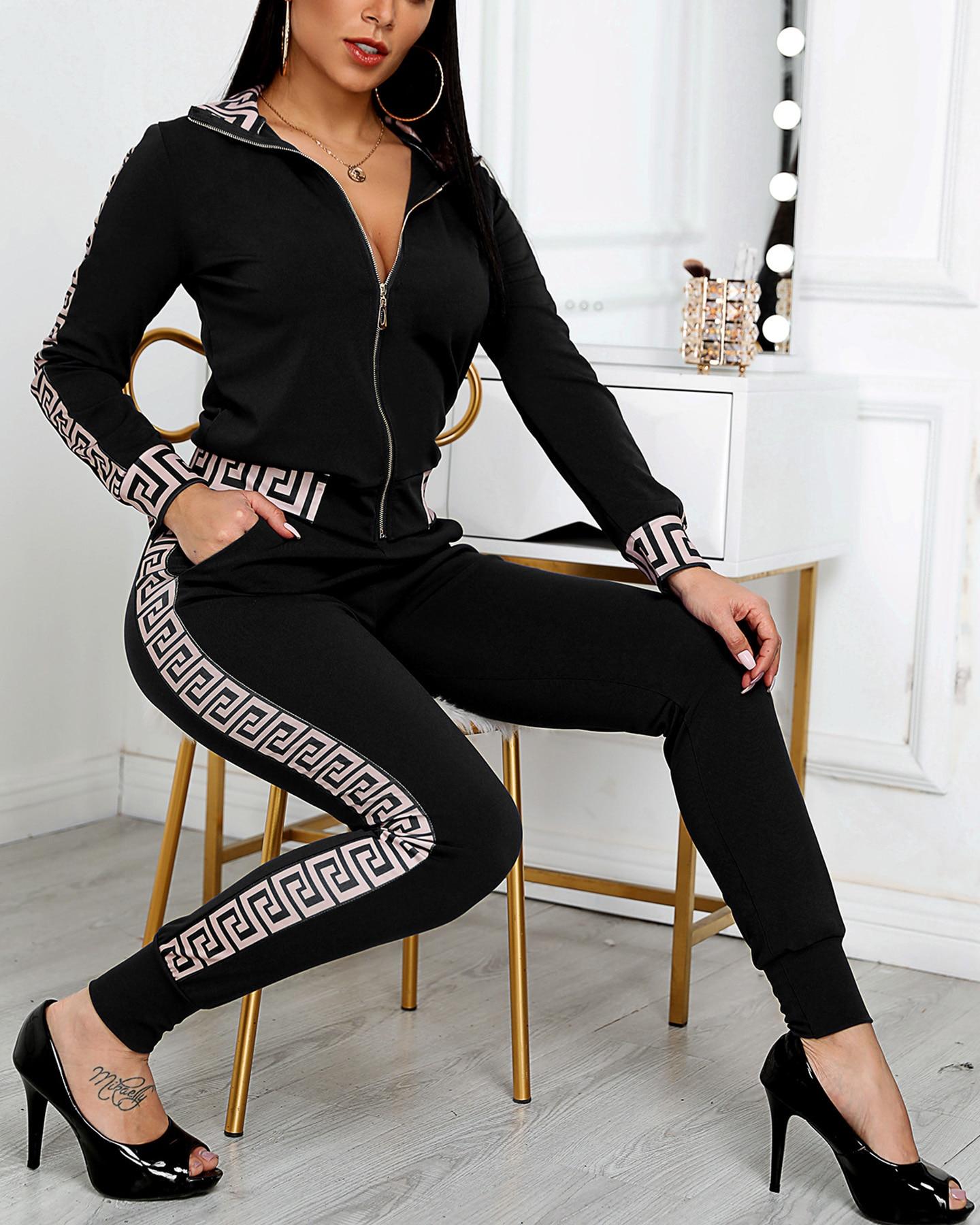 2021 Women Elegant Fashion Two -Pieces Suit Sets Female Stylish Plus Size Greek Fret Print Coat & Pant Sets