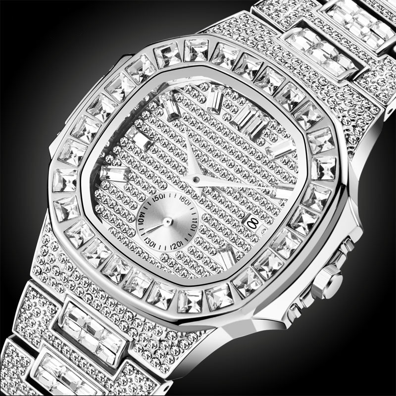 Watches Men Top Brand Luxury Watch Men Luxury Full Diamond Quartz-watch Bling Bling Jewelry Watch