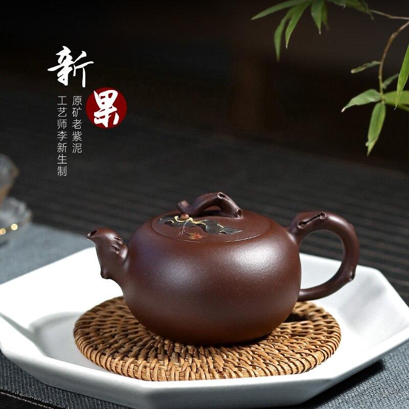 Maceta de arcilla morada de 220 cc 9 agujeros de mineral sin vestir de xin-Heng li puro manual recomendado de Wu tao 】 yixing