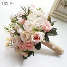 LKY Fr-ramo de flores de boda, accesorios nupciales pequeños, rosas de seda, decoración para damas de honor