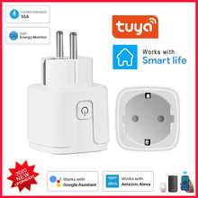 16A Smart Wifi Plug EU With Power Monitor Smart Home Wireless Socket Outlet Timer Plugs Works With Alexa Google Home Tuya App