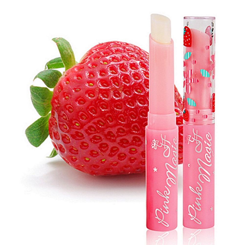 1 lápiz labial de gelatina rosa fresa para bebé, bonito maquillaje, Hidratante para fruta dulce, lápiz labial mágico con cambio de Color, bonito bálsamo labial de Battom