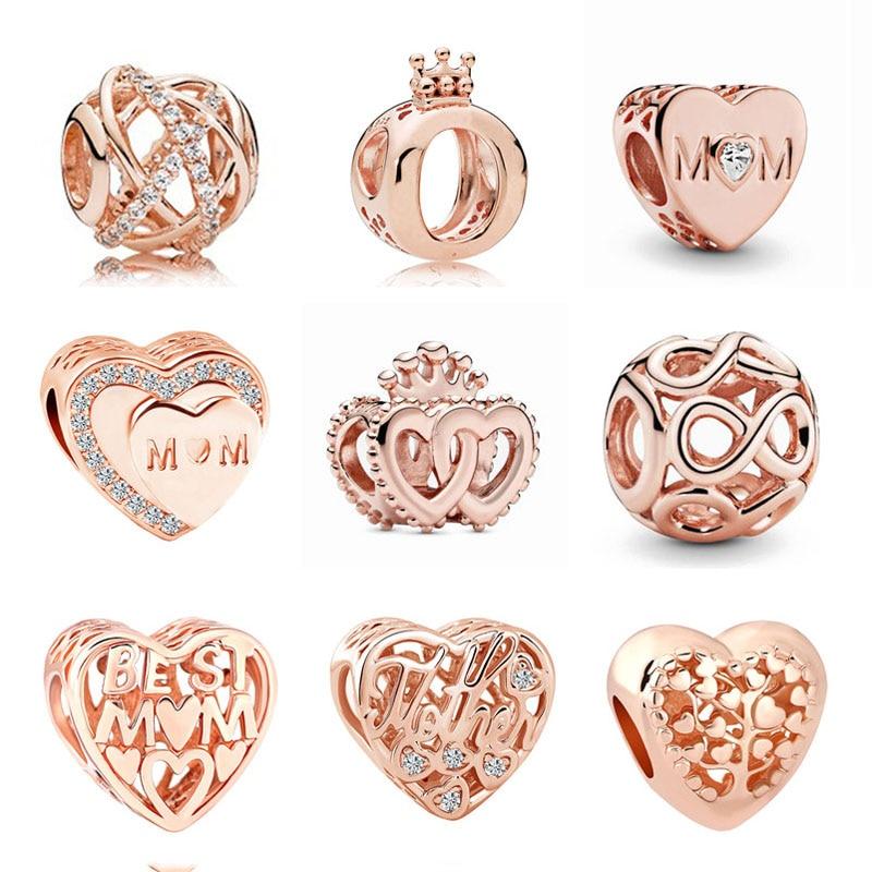 Neue Original 925 Sterling Silber MOM mutter familie galaxy Bead Charms Rose Gold Fit Pandora charme Armbänder Frauen DIY Schmuck
