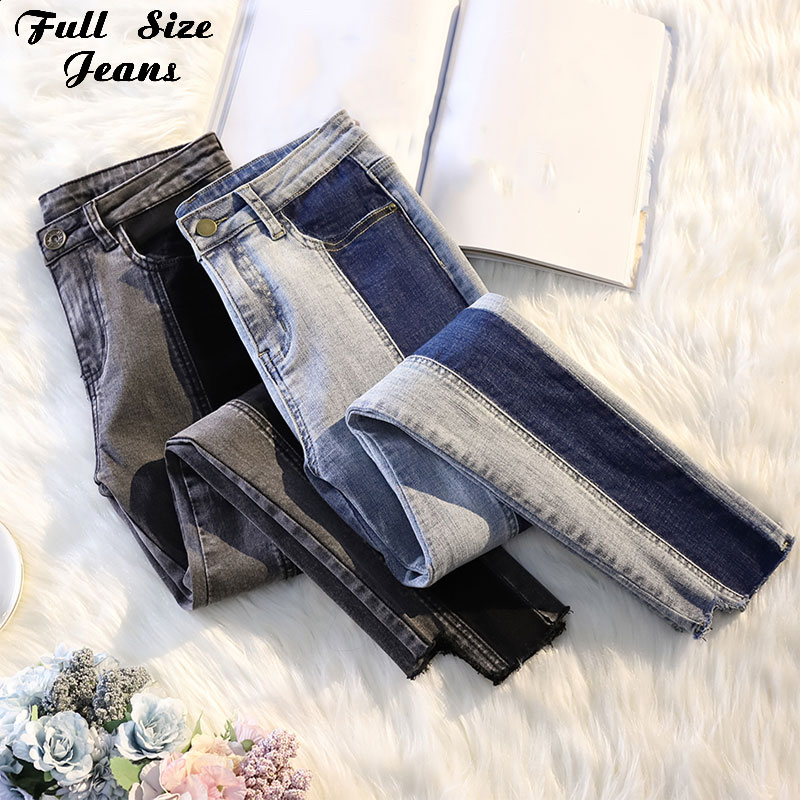 Lato Plus rozmiar zgrywanie smukłe do połowie talii czarny kontrast kolor Stretch do kostek dżinsy dla mamy 3XL 4XL kobiety Capris ołówek spodnie