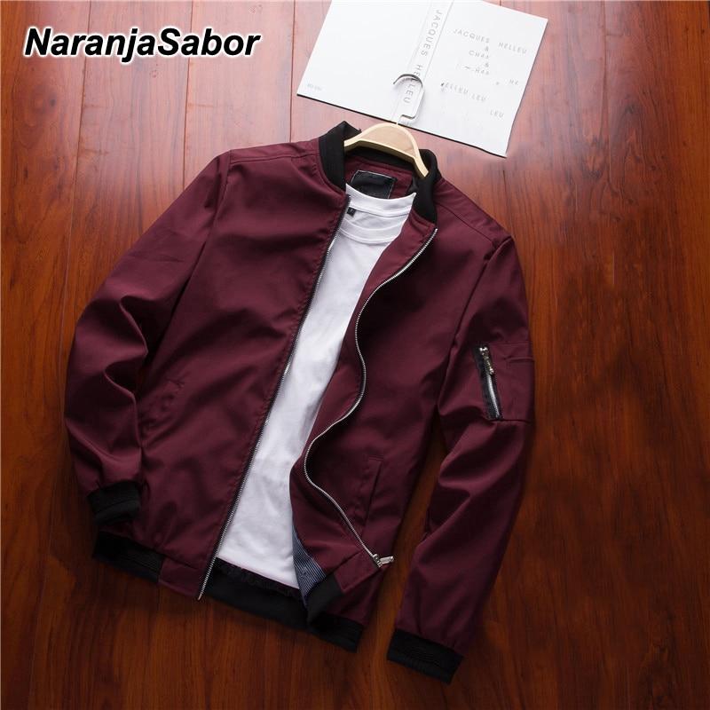 NaranjaSabor Spring New Men's Bomber Zipper Jacket Male Casual Streetwear Hip Hop Slim Fit Pilot Coat Men Clothing US/EU XXXL