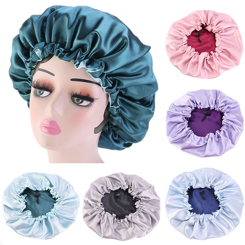 Reversible Satin Bonnet Hair Caps Double Layer Adjust Sleep Night Cap Head Cover Hat For Curly Sprin
