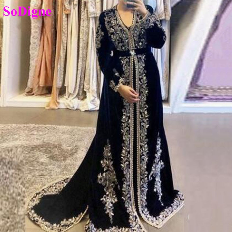 Sodigne Moroccan Caftan Formal Evening Dresses Embroidery Appliques Muslim Gowns Long Sleeves Arabic Party Dress