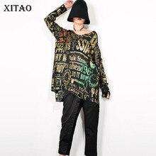 XITAO Europe Style Streetwear pull col en V ample grande taille pull femmes tendance Alphabet motif tricots hauts à la mode GCC1761