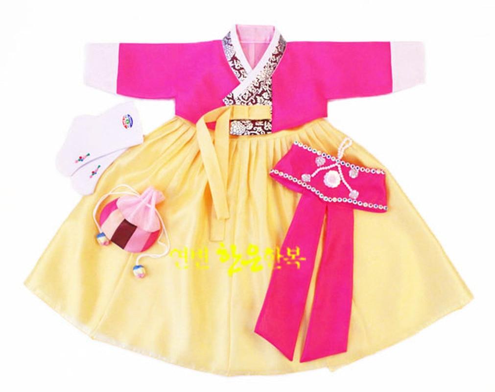 فستان رقص كوري للأطفال, فستان بناتي كوري فستان رقص تقليدية طويلة الأكمام تأثيري شحن مجاني