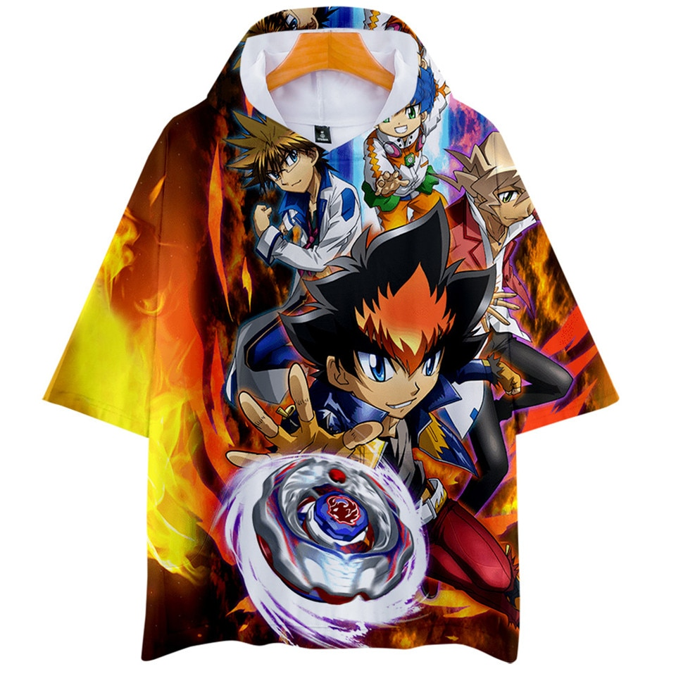 Beyblade Burst Evolution camiseta hombres/mujeres Harajuku dibujos animados 3d Hoodie camiseta Kpop Streetwear camiseta Tops Tee niños ropa