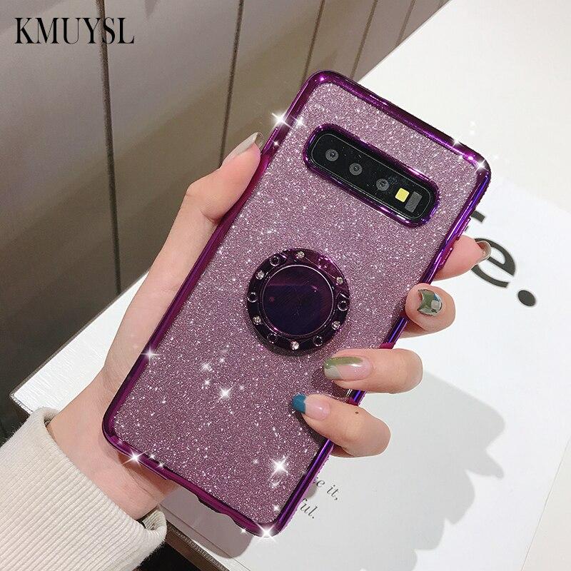 360 Roating anillo brillo diamante para Samsung Galaxy S10E S8 S9 S10Plus Note9 10Pro S7 borde M10 M20 M30 a30 A40 A50 A70 caso