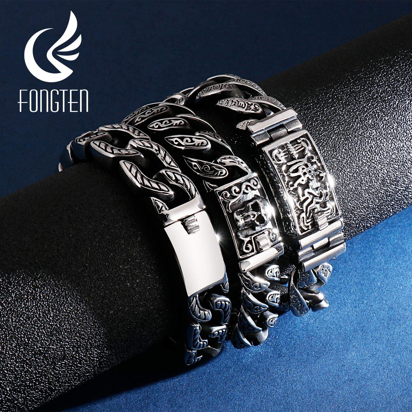 AliExpress - Fongten Budha Cuban Bracelet Men Stainless Steel Retro Link Chain Skull Punk Bracelets For Man Jewelry