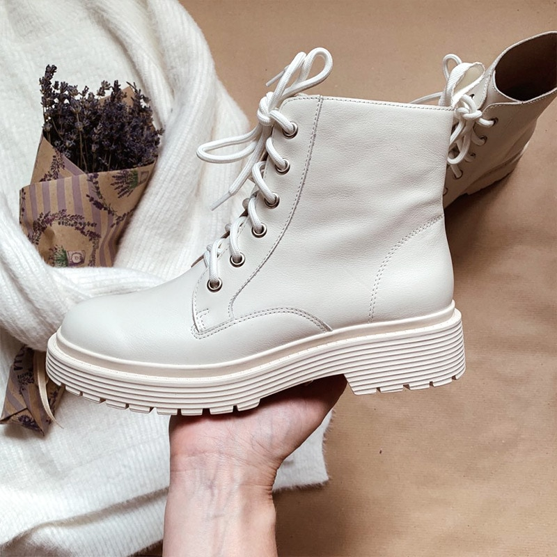 Ankle Boots Women Genuine Cow Leather Lace-Up Round Toe Lady Booties Autumn Winter Platform Sole Sho