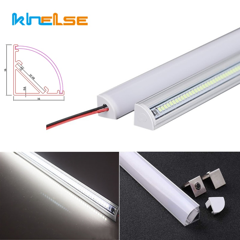 2-30pcs/Lot 0.5m 72LED Bar Lights 220V 45 Degree Angle Corner Aluminum Profile Rigid Tube Light Unde