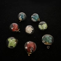 transparent spherical pendant with colored dried flowers white imitation pearls fashion charm jewelry accessories wholesale