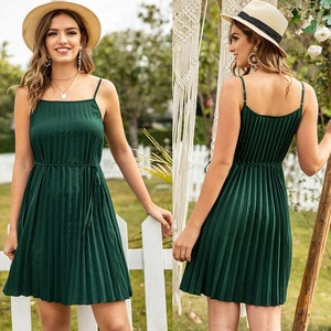 2021New sexy pleated skirt loose solid color suspender vestsleeveless open back dress Free shipping