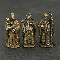 3pcs copper fu lu shou immortal ornaments bronze sculpture home decor statue figurines miniatures living room office decoration