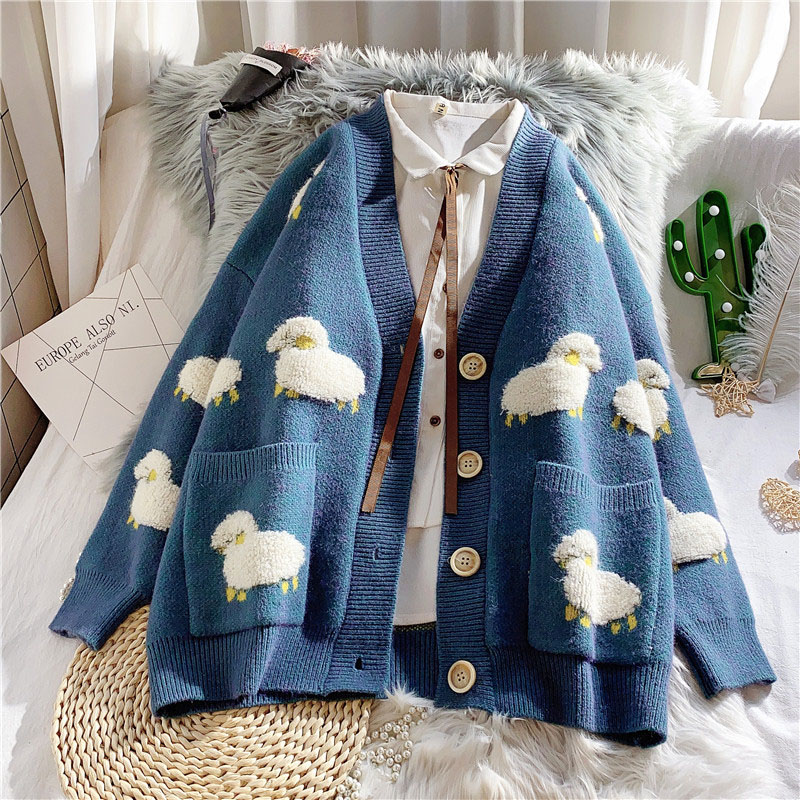 Autumn and Winter New Fashion Korean Women's Casual Sweater and Cardigan Long Sleeve V-neck Button O