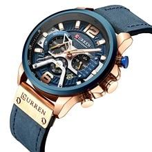 CURREN nouveau montre de sport décontractée pour hommes haut de gamme de luxe armée militaire en cuir montre pour hommes mode calendrier chronographe montre