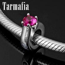 Charming Rose Rosa Großen Zirkon 925 Sterling Silber Ring Spacer Silikon Perlen Fit Original Pandora Armband Edlen Schmuck, Der