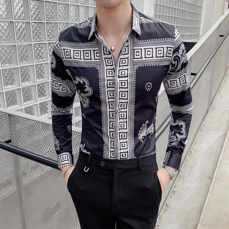 ريترو التنين مطبوعة الرجال قميص طويل الأكمام قمصان موضة فستان كاجوال قمصان ليلة نادي الاجتماعية الشارع الشهير Camisa