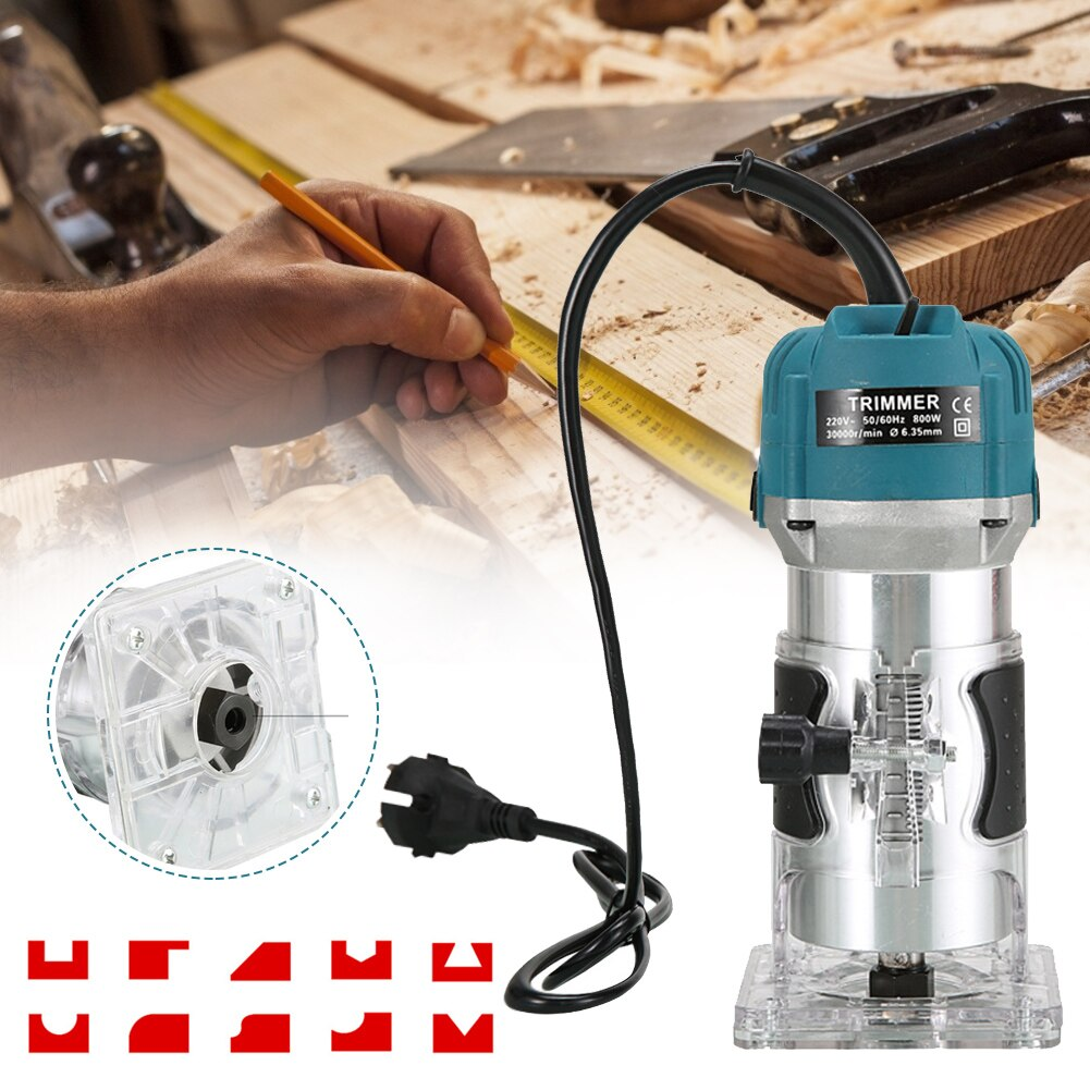 800W Electric Hand Trimmer Wood Router Portable Trimmer Wood Milling Engraving Slotting Trimming Machine Carving Machine
