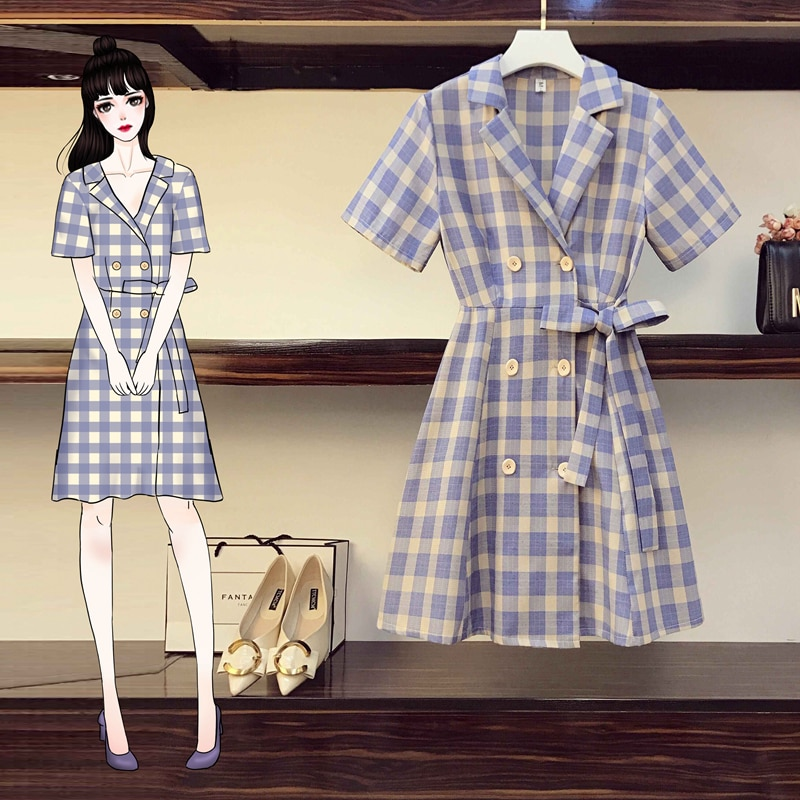 Coogarsam 4XL vestido para mujer en tallas grandes nuevo verano vestidos de cintura alta con muescas morado 1008