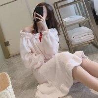 pajamas female winter coral velvet cute sweet princess style girls loose autumn and winter long sleeved pajamas sleepwear women