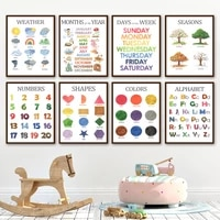 nursery wall pictures kids room decor weather season shape colour alphabet nordic posters and prints wall art canvas painting