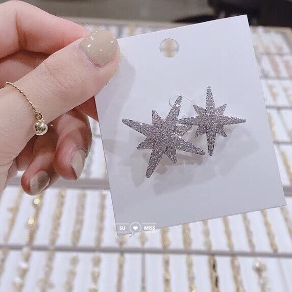 Victorian Micro Pave CZ doble capa estrella broche Pin plata declaración larga 8 puntos pequeña estrella explosión Pin Broach para Mujeres Hombres