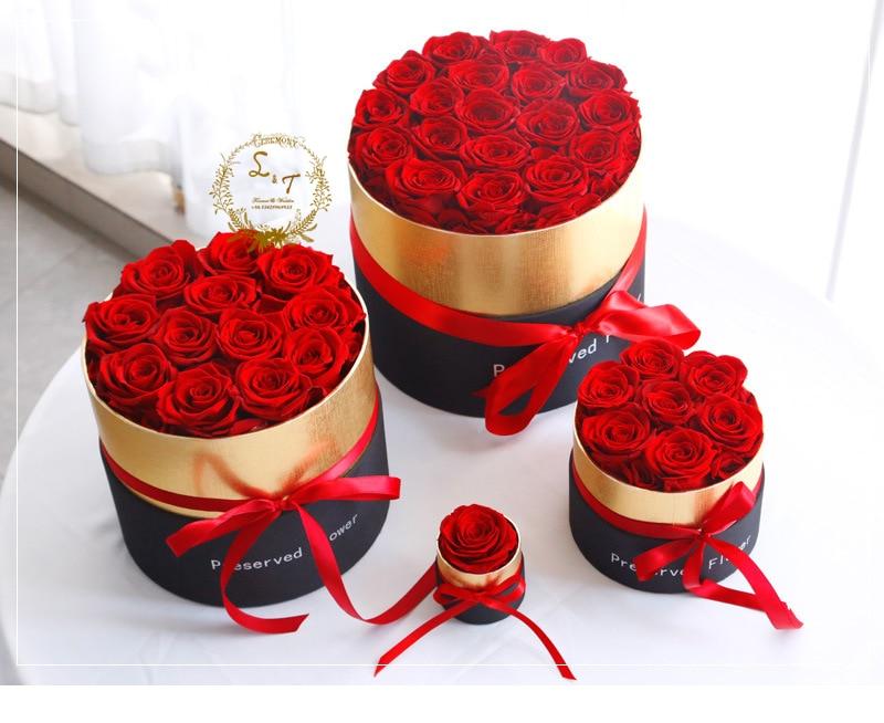 زهرة أبدية في صندوق زهور وردة حقيقية محفوظة مع مجموعة صناديق أفضل هدية عيد الأم رومانسية عيد الحب الزهور الاصطناعية