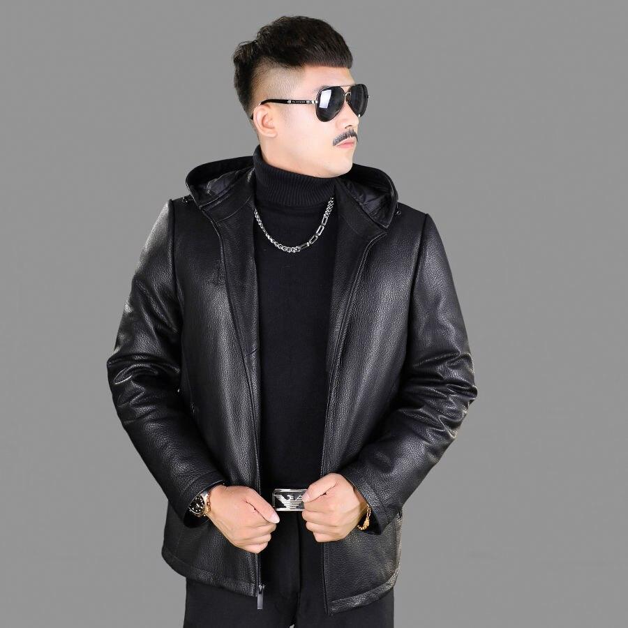أصيلة الطبقة الأولى معطف جلد Deerskin الرجال أسفل مقنعين انفصال قصيرة سترة جلدية سميكة معطف الشتاء