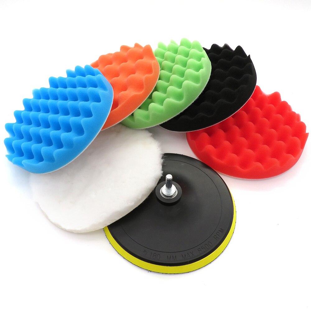 Juego de 7 Uds. De almohadillas abrillantadas para coche de 3-7 pulgadas, almohadilla de esponja para pulir, encerar, limpiar, pulir y quitar arañazos en las ruedas de reparación de automóviles