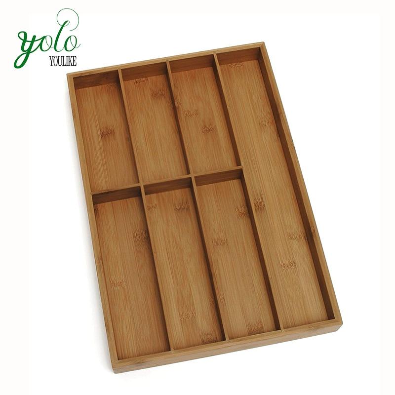 Organizador de cajón de cocina, organizador de cubiertos, soporte de utensilios y bandeja de cubiertos con 7 compartimentos
