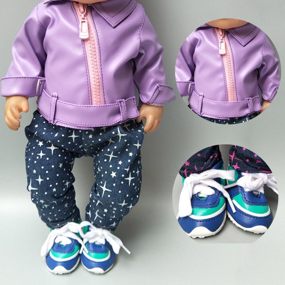 Ropa para bebés recién nacidos de 43cm, pantalones de cuero de PU, muñecos coatt para bebés de 17 pulgadas, abrigo, ropa de invierno, pantalones, regalo para niños