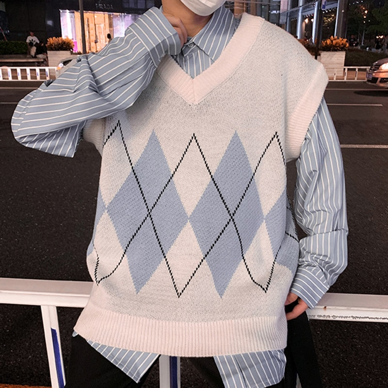Sweater Vest Men Patchwork V-neck Sleeveless Sweaters Chic Preppy Style Side-Slit Couples Teens Retro High Quality New Waistcoat