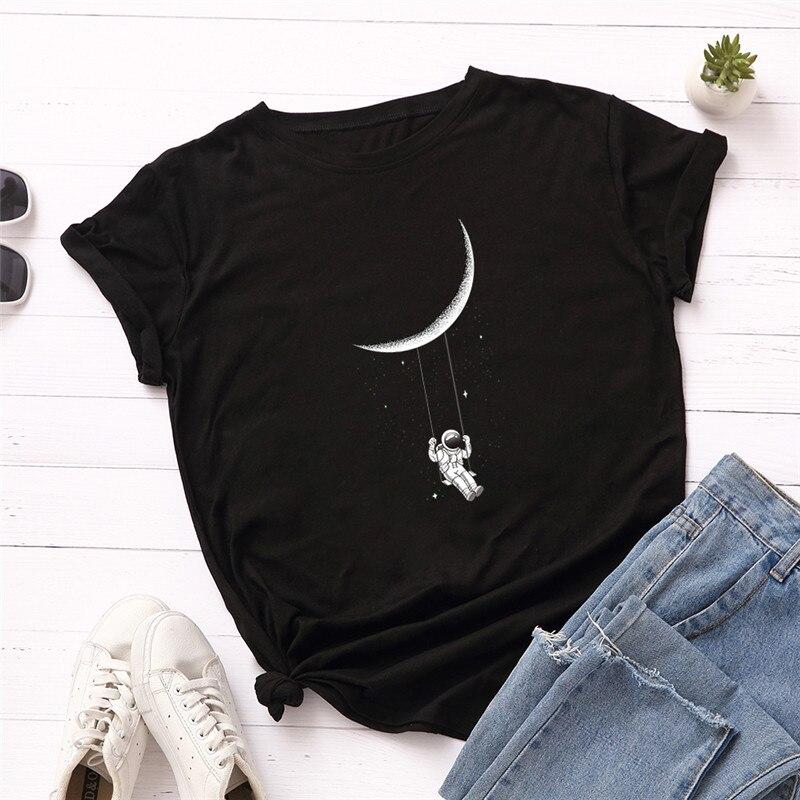 Футболка размера плюс S-3xl, футболка с принтом космонавта новой луны, Женская хлопковая Футболка с круглым вырезом и коротким рукавом, летняя футболка, топы, повседневные футболки