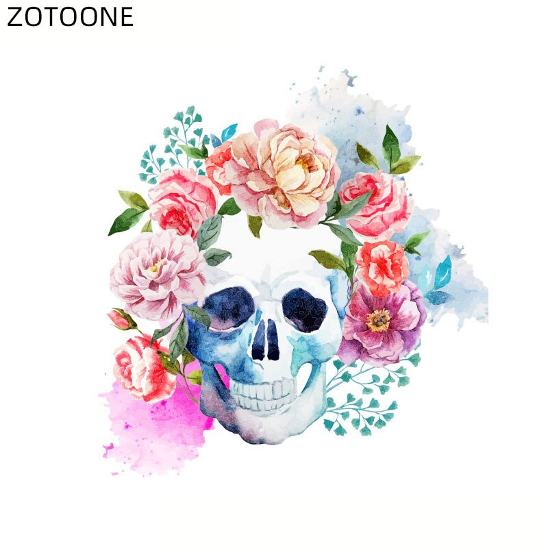 ZOTOONE Iron on Flower Skull Patch for Clothes T-shirt Heat Transfers Stickers for Kids Boys Washable DIY Patches Appliques G